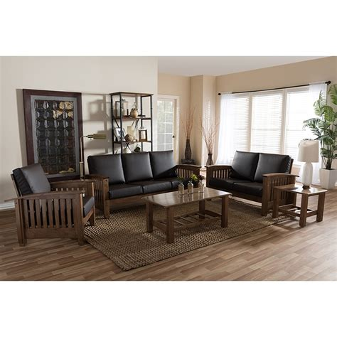 5 living room set 5 faux leather living room set brown walnut dcg stores