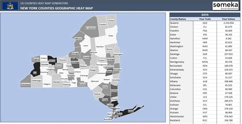 Us Counties Heat Map Generators Automatic Coloring Editable Shapes Excel Us Map Template
