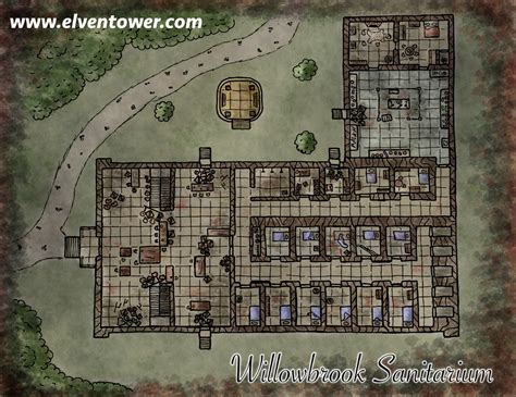 Fantasy Floor Plans by Map 29 Willowbrook Sanitarium Elven Tower
