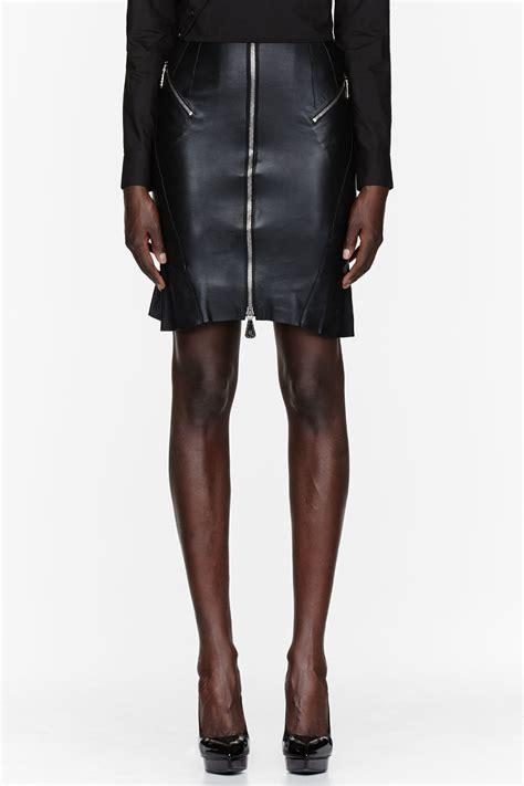 mcq by mcqueen black leather zipper biker skirt
