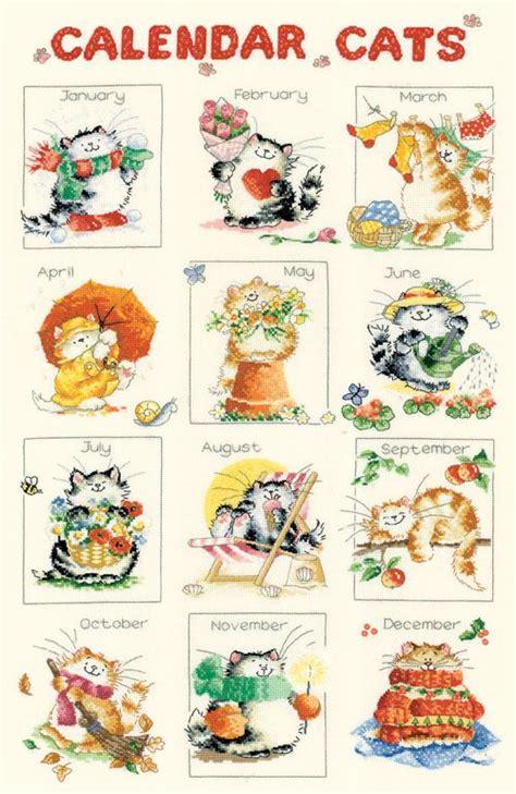 calendar cats cross stitch kit by margaret sherry