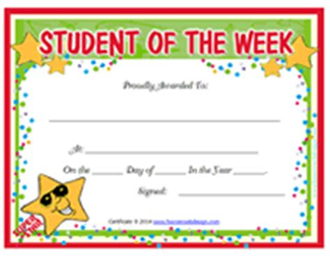 student of the week certificate template free printable student of the week blank award certificate