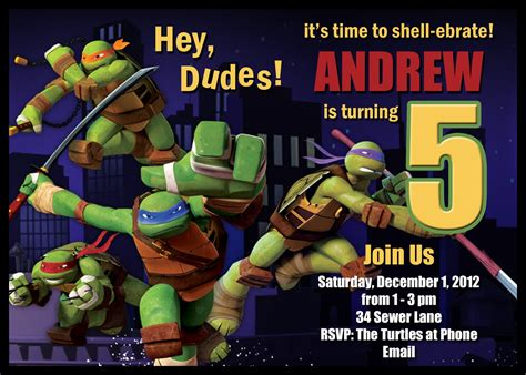 printable birthday cards ninja turtles teenage mutant ninja turtle birthday party invitations