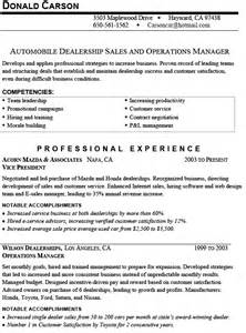 Used Car Manager Sle Resume by Sales Automobile Resume