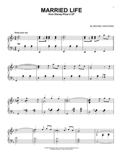 theme music up download married life sheet music by michael giacchino