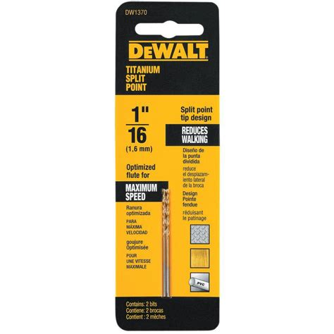 dewalt 1 16 in titanium split point drill bit 2 pack