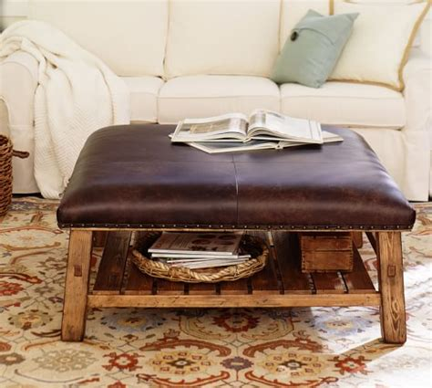 pottery barn leather ottoman coffee table caden leather square ottoman pottery barn