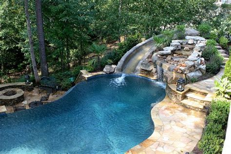 Pool With Slide Waterfall Grotto Cave Flickr Photo Backyard Cave
