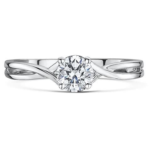 Engagement Rings Uk by 9ct White Gold Quarter Carat Twist Solitaire