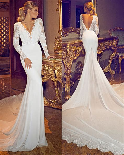 gorgeous lace sleeve wedding dresses   wedding