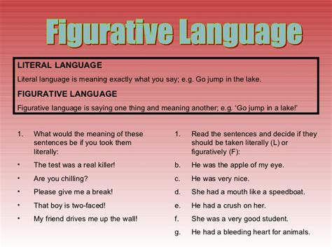 Literal And Figurative Language Worksheets