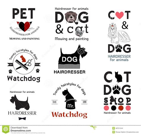 set hair salon for animals logo labels badges and design