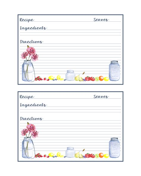 free printable recipe cards gifts jar free printable mason jar recipe cards the cottage market