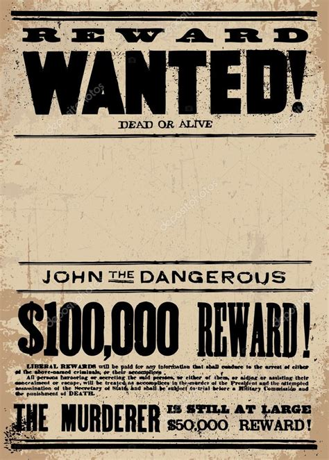 reward posters template vector western wanted reward poster template stock