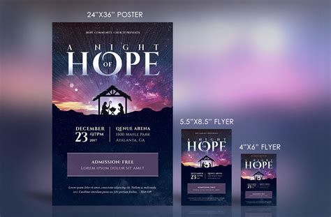 Hope Christmas Flyer Poster Template On Behance Nativity Flyer Template