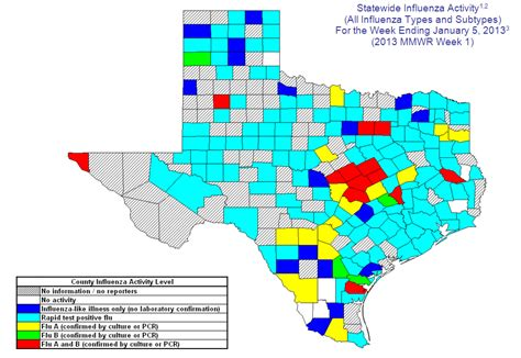 texas flu map 2012 2013 dshs flu report week 1