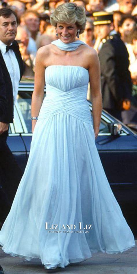 Princess Diana Blue princess diana blue strapless chiffon dress