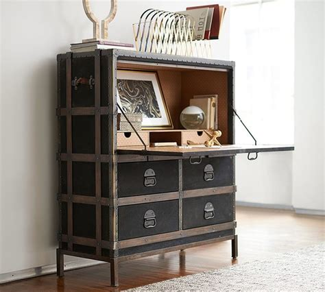 secretary desk with file storage ludlow trunk secretary desk contemporary by pottery barn