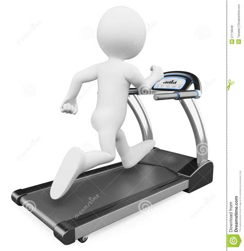 how to a to run on a treadmill 3d white running on a treadmill royalty free stock photos image 27118048