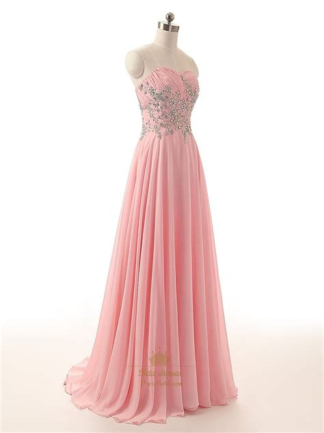 pink beaded dress pink strapless chiffon beaded bodice a line floor length