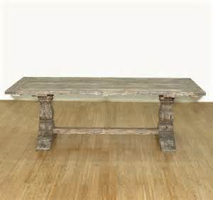 Rectangular Pedestal Kitchen Table 8ft Solid Wood Refectory Rectangular Pedestal