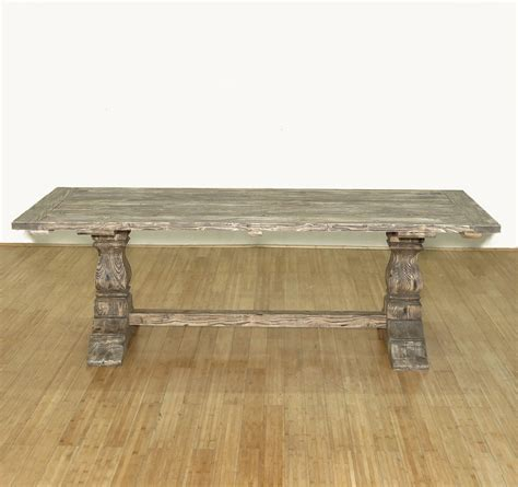 large rustic reclaimed wood double trestle pedestal dining solid wood construction handcrafted hand carved not mass