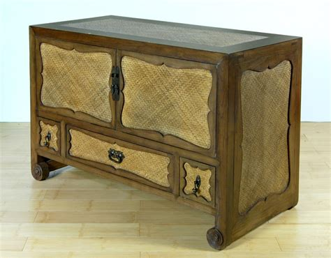 elm media cabinet elm wood wicker rattan media cabinet tv stand