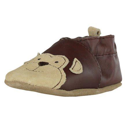 robeez newborn baby boys brown leather soft sole baby