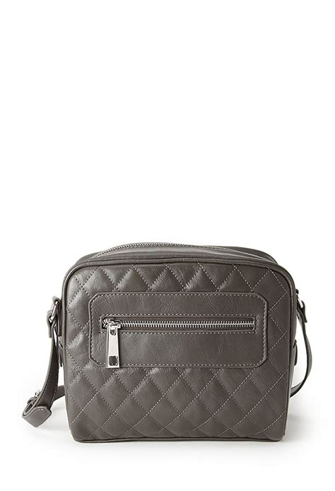 Forever21 Does Marc Hudson Handbag by Forever 21 Quilted Faux Leather Crossbody Bag In Gray