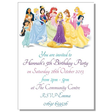 invitations to disney princess invitations theruntime