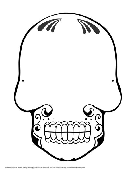blank sugar skull template free printable create a sugar skull for day of the dead