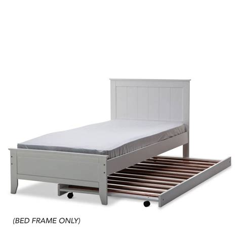dallas single size rubber wood bed frame in white buy