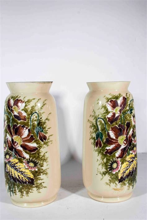 Decorative Large Vases by Antique Pair Of Large Painted Decorative Vase At 1stdibs