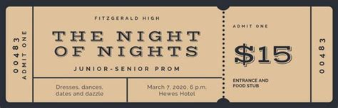 Brown And Black Bordered Prom Ticket Templates By Canva Prom Ticket Template Free