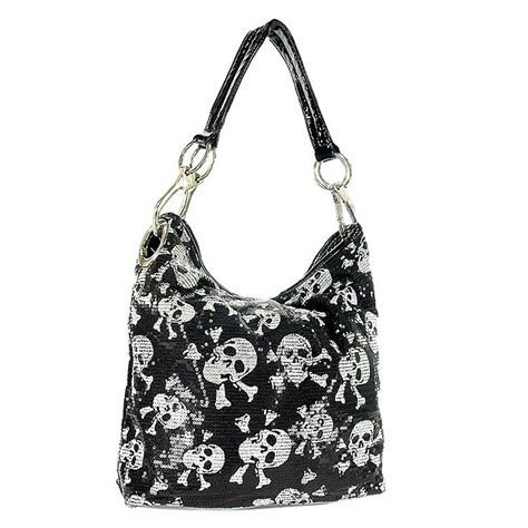 Handbag Skull by Skull Design Sequined Hobo Handbag Skull Purses Bags
