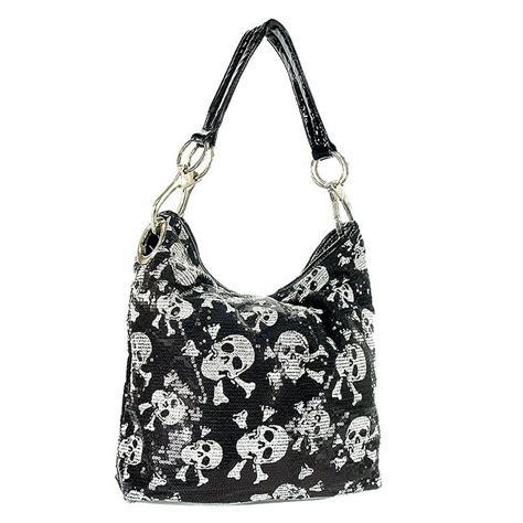 Sequined Handbag skull design sequined hobo handbag skull purses bags