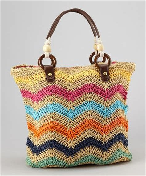 zig zag crochet pattern bag boardwalk style zigzag crocheted straw tote crocheted