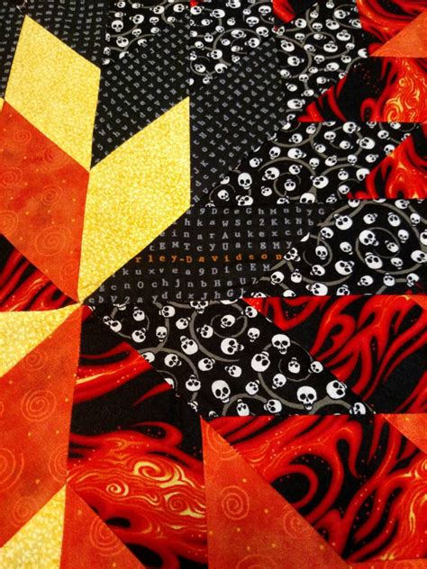 Harley Davidson Quilts For Sale by Harley Davidson Flaming Quilt With By