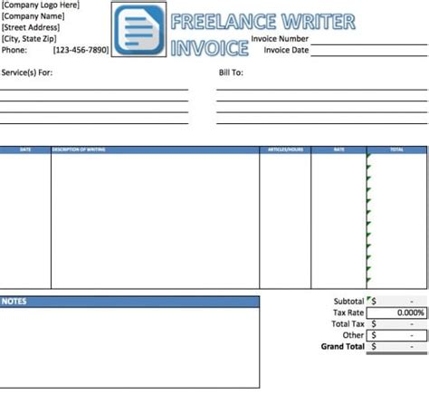 freelance receipt template free freelance writer invoice template excel pdf