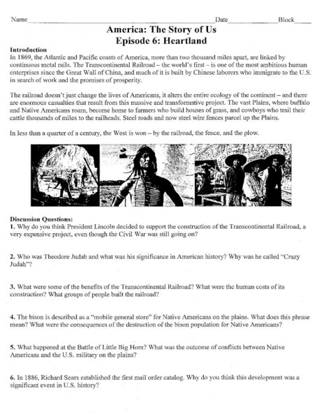 America The Story Of Us Episode 7 Worksheet by America The Story Of Us Worksheet Lesupercoin Printables