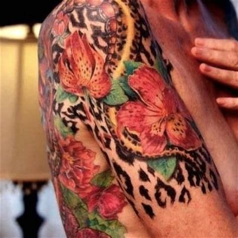 cheetah print tattoos with roses animal print flower tattoos