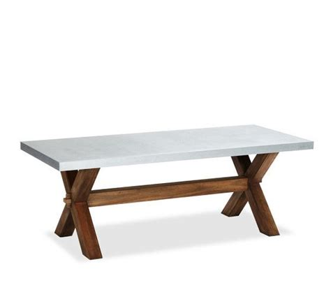 abbott zinc top rectangular fixed dining table