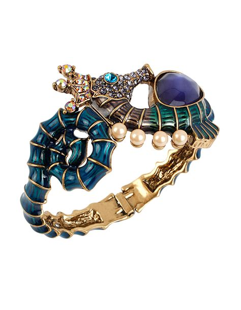 betsey johnson into the blue seahorse bangle bracelet lyst