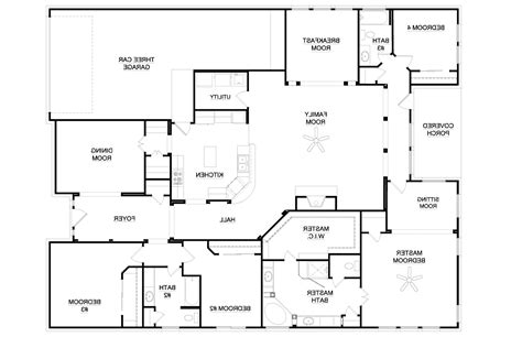 Best One Story Floor Plans by Bedroom Story Floor Plan Top Four House Plans Home Designs