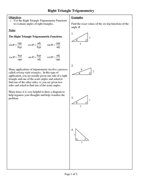 Special Right Triangles Word Problems Worksheet