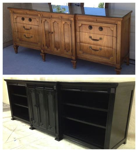 Refurbished Furniture Before And After by Converted 9 Drawer Dresser Into Tv Stand Media Unit Www
