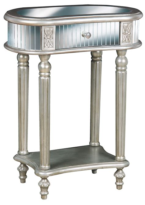 furniture accent tables small mirrored accent table with drawer and shelves plus