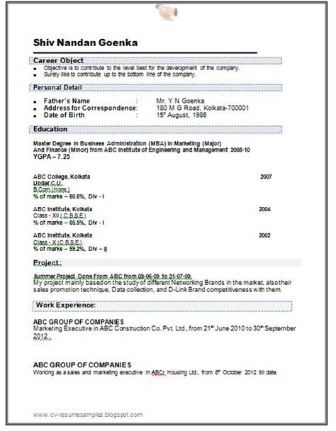 resume format for mba marketing experienced in doc 10000 cv and resume sles with free