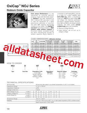 avx capacitor datasheet search noja106m006 datasheet pdf avx corporation