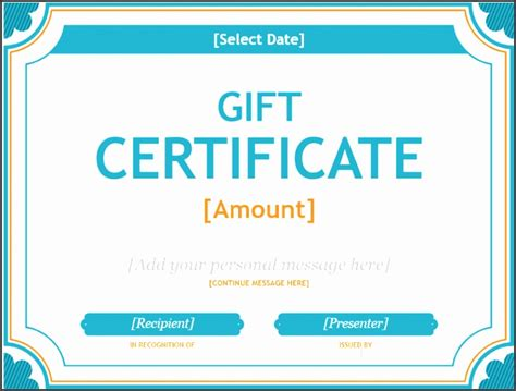 Personal Gift Card Template by 5 Personalized Gift Certificates Sletemplatess